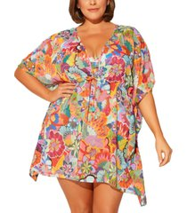 bleu by rod beattie plus size caftan swim cover-up women's swimsuit