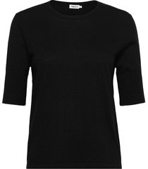 claire elbow sleeve top t-shirts & tops short-sleeved zwart filippa k