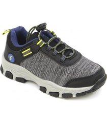 zapatilla outdoor elástico a caminar gris ficcus