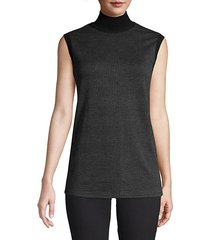 abate sleeveless houndstooth stretch-wool turtleneck top