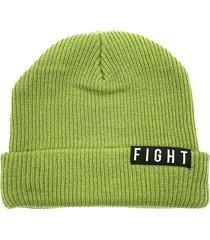 gorro de lana verde fight for your right beanis almendra