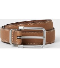 river island mens brown leather buckle belt