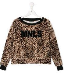 monnalisa teen leopard print logo sweatshirt - neutrals