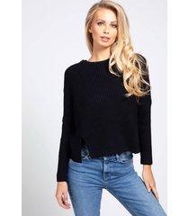 bawełniany sweter z ozdobnym ściegiem