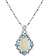 """opal (1 ct. t.w.), swiss blue topaz (1/3 ct. t.w.) & diamond accent 18"""" pendant necklace in sterling silver"""