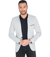 blazer gris claro cuello mao solapa y bolsillos frontales para hombre