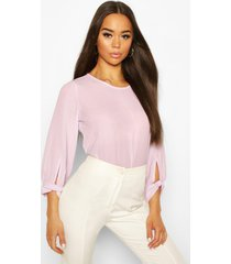 bow sleeve woven blouse, lilac