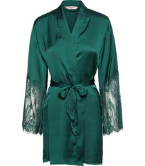 kimono satin lace morgonrock grön hunkemöller