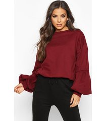 puff sleeve sweatshirt, wine