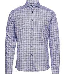 super slim fit business textured twill shirt overhemd casual blauw eton