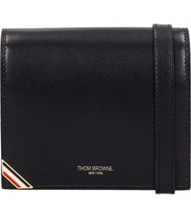 thom browne shoulder bag in black leather