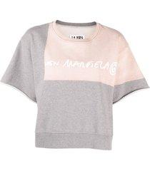 mm6 maison margiela logo-print short-sleeve sweatshirt - grey