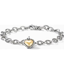 david yurman cable cookie classic heart charm bracelet with 18k yellow gold, size small in two tone at nordstrom