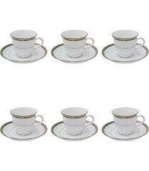 jogo 6 xícaras para chá noritake renwick platinum