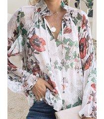 blanco con cordones diseño blusa de manga larga con cuello en v floral al azar