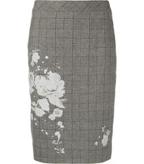 boutique moschino checked floral print skirt - grey