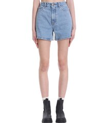 ganni shorts in blue cotton
