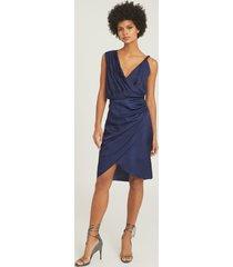 reiss zaria - drape front cocktail dress in blue, womens, size 14