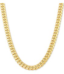 """italian gold miami cuban link 22"""" chain necklace in 10k yellow gold or 10k white gold"""