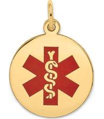 medical info disc charm pendant in 14k gold