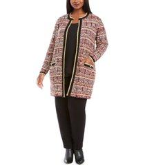 belldini plus size metallic-threaded open-front cardigan
