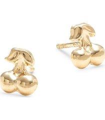 saks fifth avenue women's 14k yellow gold cherry stud earrings