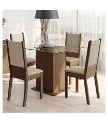 conjunto sala de jantar madesa dara mesa tampo de vidro com 4 cadeiras marrom