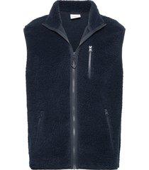 elm zip teddy fleece sweat vest blauw knowledge cotton apparel