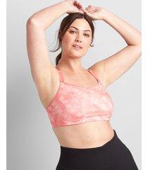 lane bryant women's livi low-impact no-wire sport bra with wicking - strappy back 14/16 blush tie dye