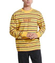 guess men's long-sleeve striped logo t-shirt
