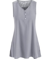 lace panel silky side slit sleeveless tunic top