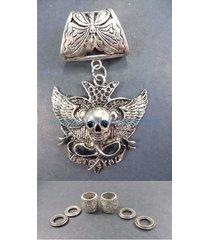 us seller-diy jewelry supply skull pendant slider scarf ring