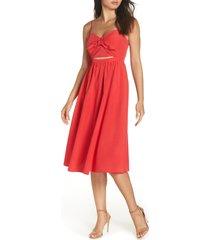 women's bardot tie front midi dress, size large - red