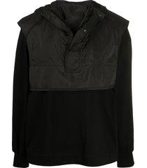 juun.j gilet overlay hoodie - black