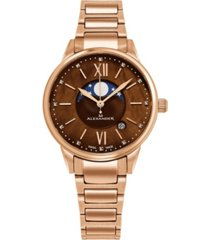 alexander watch ad204b-06, ladies quartz moonphase date watch with rose gold tone stainless steel case on rose gold tone stainless steel bracelet