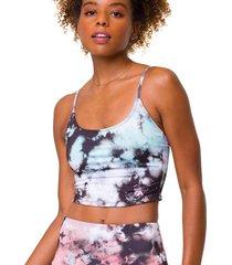 onzie women's belle cami yoga crop top - true romance tie dye small/medium spandex