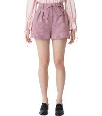 women's maje ida houndstooth tie waist cotton blend shorts