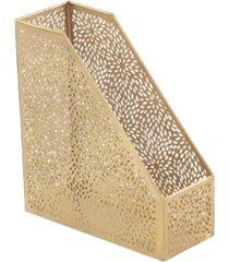 glam style metallic pierced metal file folder and magazine holder with chrysanthemum patterns
