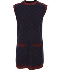 gucci interlocking g lamé wool dress
