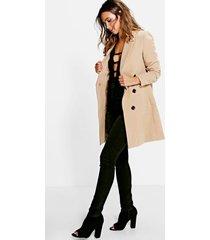 petite kameelkleurige duster jas met dubbele knopen, kameel
