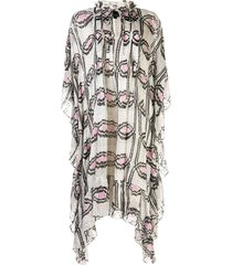 cynthia rowley thasos ikat-print kaftan dress - grey