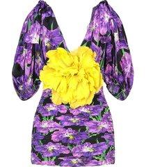 bloemen patroon zijde blouse