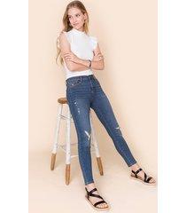 women's josie destructed skinny jeans in denim by francesca's - size: 30