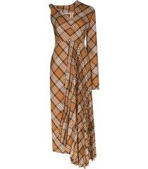 a.w.a.k.e. mode checked asymmetric pleated midi dress - brown
