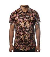 camisa estampada camaleão urbano arabesco floral masculina