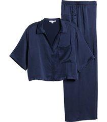 women's lunya washable silk pajamas, size large - blue