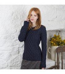 ladies lambay aran sweater navy small