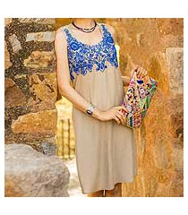 viscose shift dress, 'royal blue personality' (india)