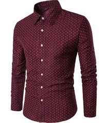 uomo camicia da affari casual a colore di tinta unita in cotone camicia stampata a maniche lunghe con taglia forte