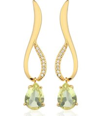 brinco toque de joia alfa gota quartzo green gold com zircônias dourado